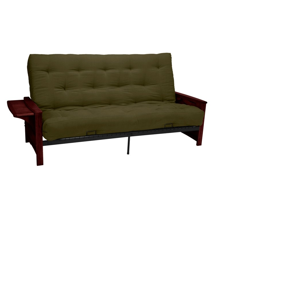 Brooklyn 8 Inner Spring Futon Sofa Sleeper - Mahogany Wood Finish - Epic Furnishings, Olive Heather