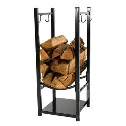 "Small Steel Indoor/Outdoor Log Rack with Tool Holders - 32"" Black -  Sunnydaze Decor"