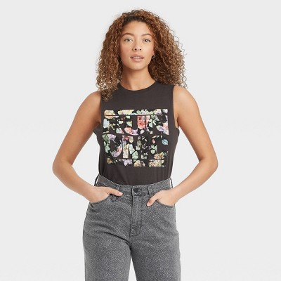 Women's Run DMC Graphic Tank Top - Black Floral