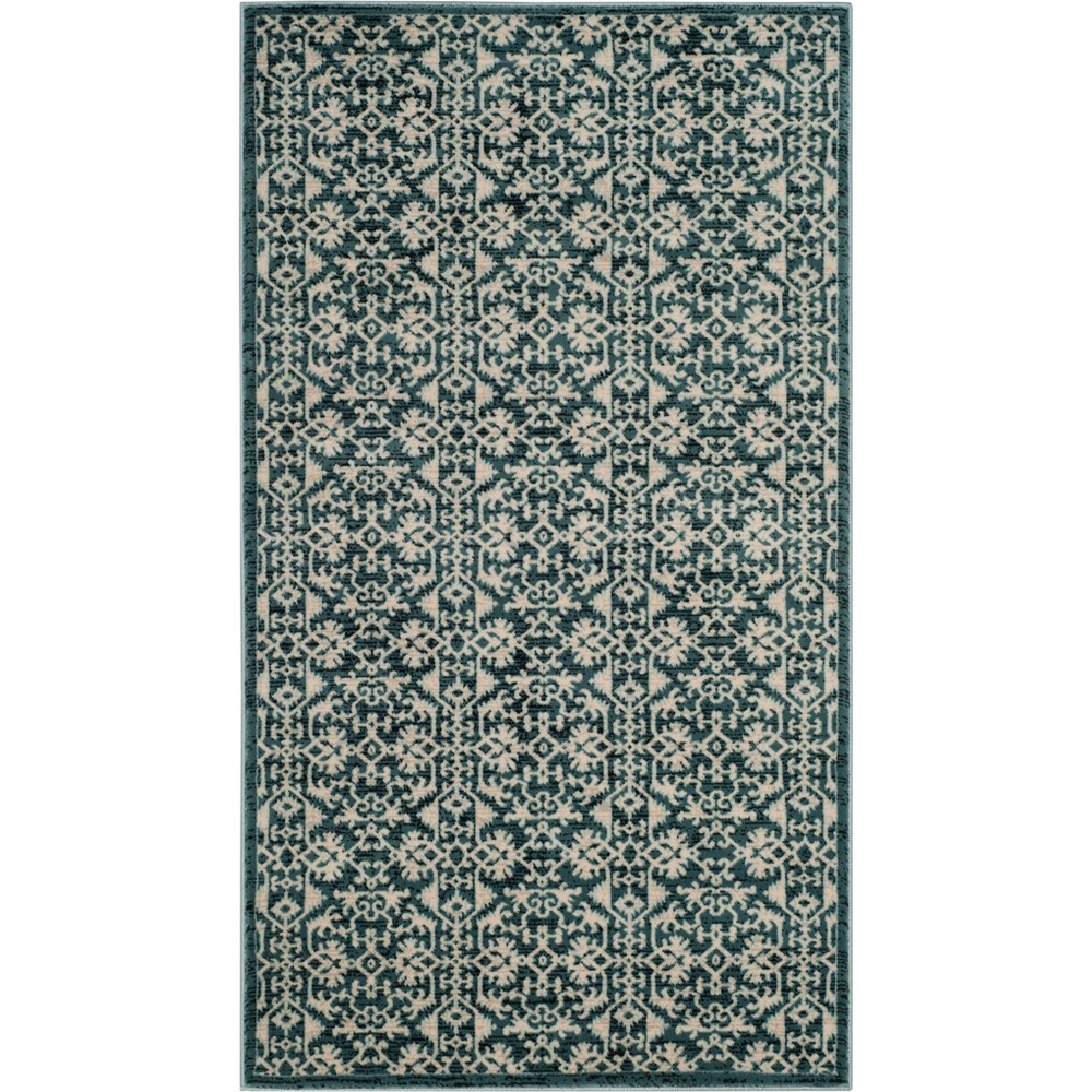 33X53 Medallion Loomed Accent Rug Turquoise/Cream - Safavieh Top