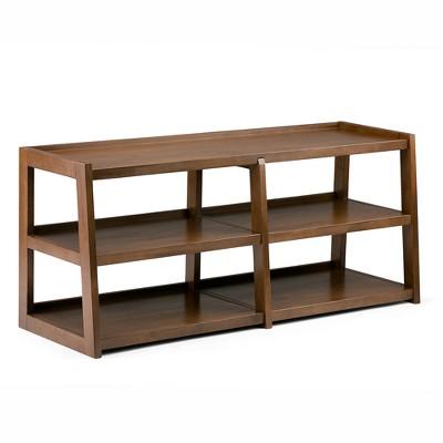 "60"" Hawkins Solid Wood Wide TV Stand Medium Saddle Brown - WyndenHall"