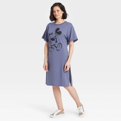 Women's Disney Mickey Short Sleeve Graphic T-Shirt Dress - Blue