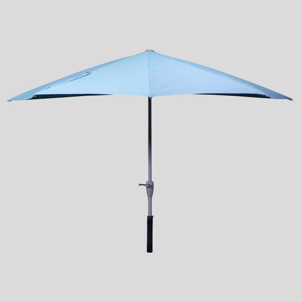 Image of 9' x 4' Half Moon Patio Umbrella Sky - Ash Pole - Project 62 , Blue