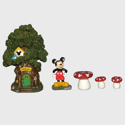 Disney Mickey Mouse 8  Miniature Resin Garden Set With Solar Tree House