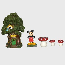 "Disney Mickey Mouse 8"" Miniature Resin Garden Set With Solar Tree House"