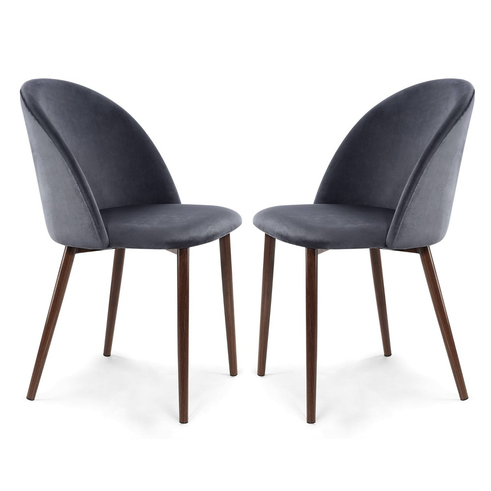Set of 2 Raleigh Velvet Dining Chair Cool Charcoal/Walnut - Poly & Bark Promos