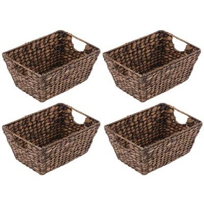 mDesign Hyacinth Home Storage Basket for Cube Furniture, 4 Pack, White Wash