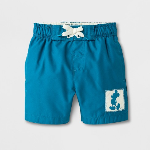 Junk Food Toddler Boys' Disney Mickey Mouse Swim Trunks - Blue - image 1 of 1
