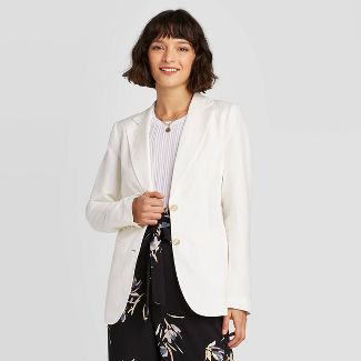 Women's Long Sleeve Linen Blazer - A New Day™ Cream 14