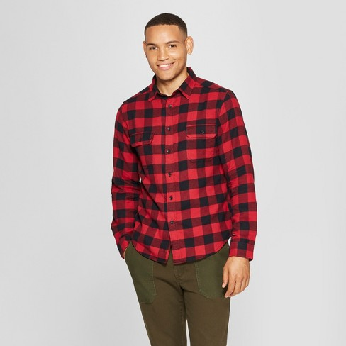 Men's Plaid Standard Fit 2-Pocket Flannel Long Sleeve Button-Down Shirt - Goodfellow & Co™ - image 1 of 3