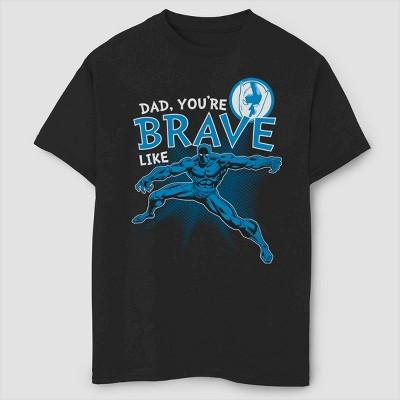 Boys' Marvel Black Panther Brave Like Dad Short Sleeve T-Shirt - Black