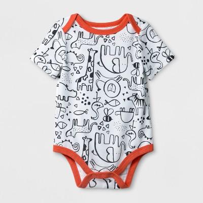 Baby Boys' Animal Print Short Sleeve Bodysuit - Cat & Jack™ White 0-3M