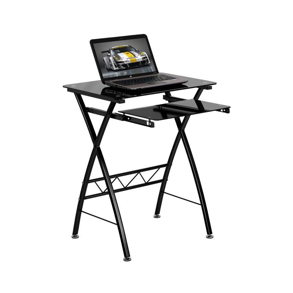 Black Tempered Glass Computer Desk with Pull - Out Keyboard Tray - Black Glass Top/Black Frame - Riverstone Furniture Collection, Light Silver