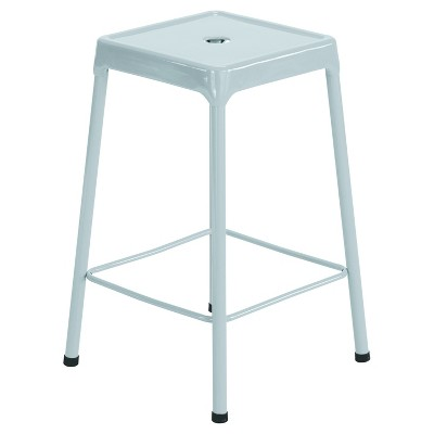 Safco Counter-Height Steel Stool, Silver