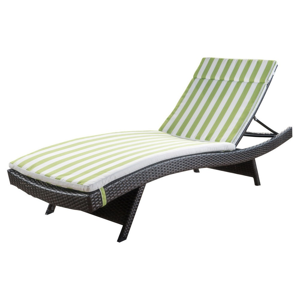 Salem Brown Wicker Adjustable Chaise Lounge - Green and White Stripe - Christopher Knight Home, Green + White Stripe