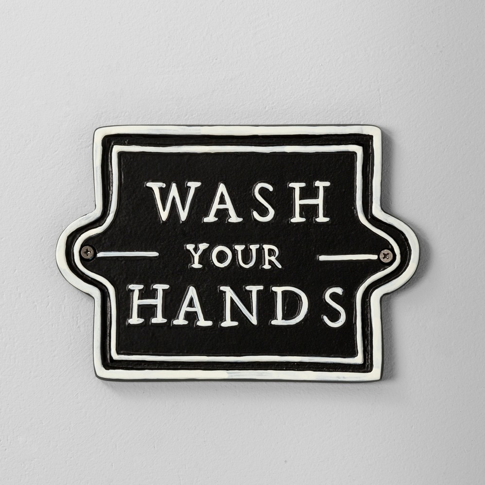 Image of Wall Sign Wash Your Hands Black - Hearth & Hand with Magnolia