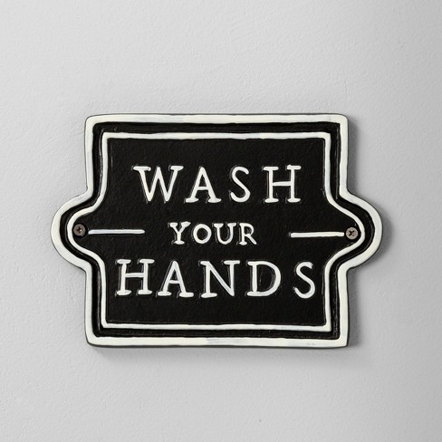 Wall Sign Wash Your Hands Black