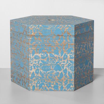 Decorative Hexagon Shaped Lidded Box Blue Surf 12 x14  - Opalhouse™