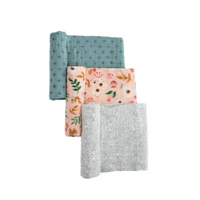 Little Unicorn Cotton Muslin Swaddle Blanket - Vintage Floral 3pk
