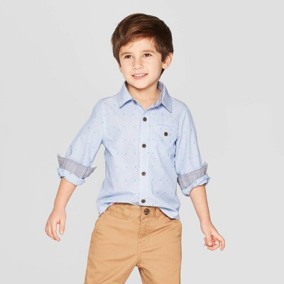Toddler Boys' Dots Long Sleeve Button-Down Shirt - Cat & Jack™ Blue 12M