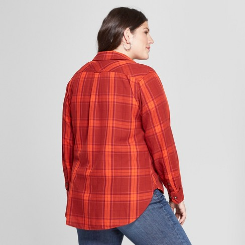 df71a590aaa Women s Plus Size Plaid No Gap Button-Down Long...   Target