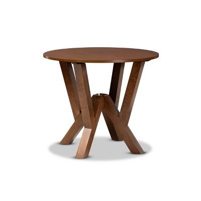 "35"" Irene Wide Round Wood Dining Table - Baxton Studio"