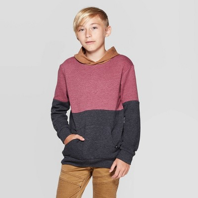 Boys' Long Sleeve Colorblock Pullover   Art Class™ Maroon by Art Class Maroon…