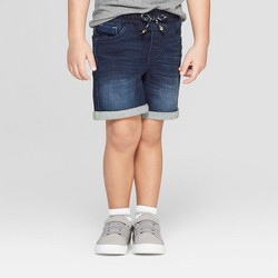 Toddler Boys' Knit Pull-On Jean Shorts - Cat & Jack™ Dark Blue