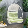 Malia Outdoor Wicker Hanging Chair (Stand Not Included)  White/Green - Christopher Knight Home - image 2 of 4