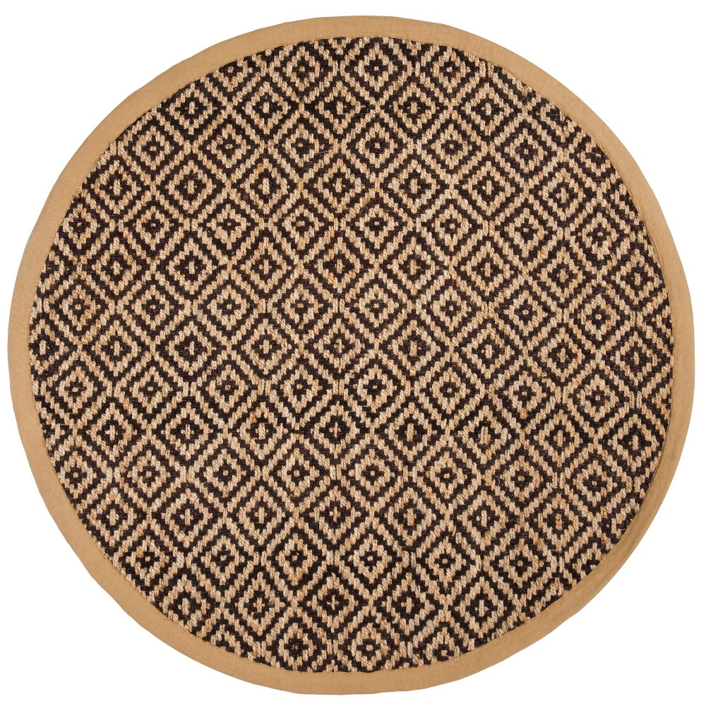 6' Geometric Woven Round Area Rug Brown/Natural - Safavieh