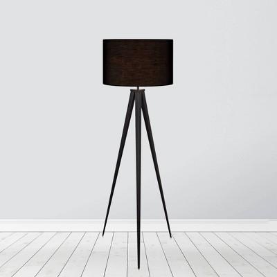 Allora Mid-Century Modern Tripod Floor Lamp with Drum Shade - Teamson Home