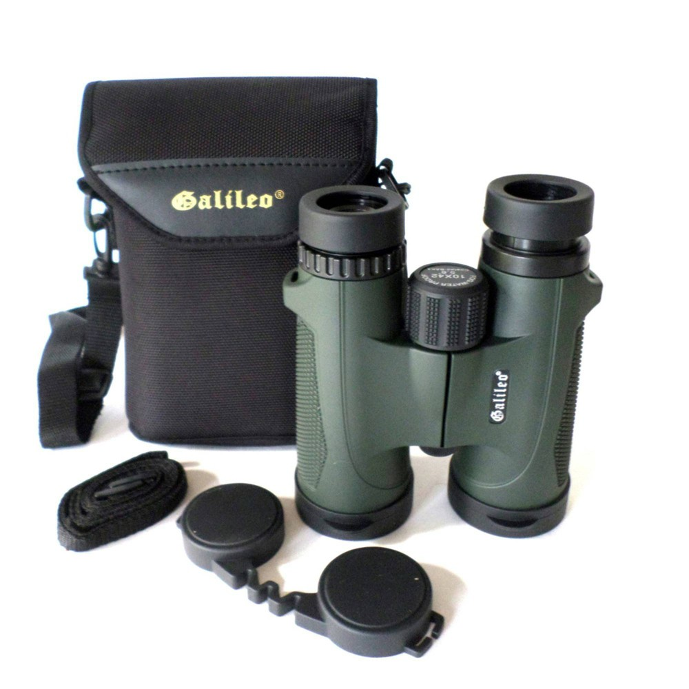 Image of Galileo G-1242WP 12mm x 42mm Water and Fog Proof Roof BAK-4 Prism Binocular - Black, Green