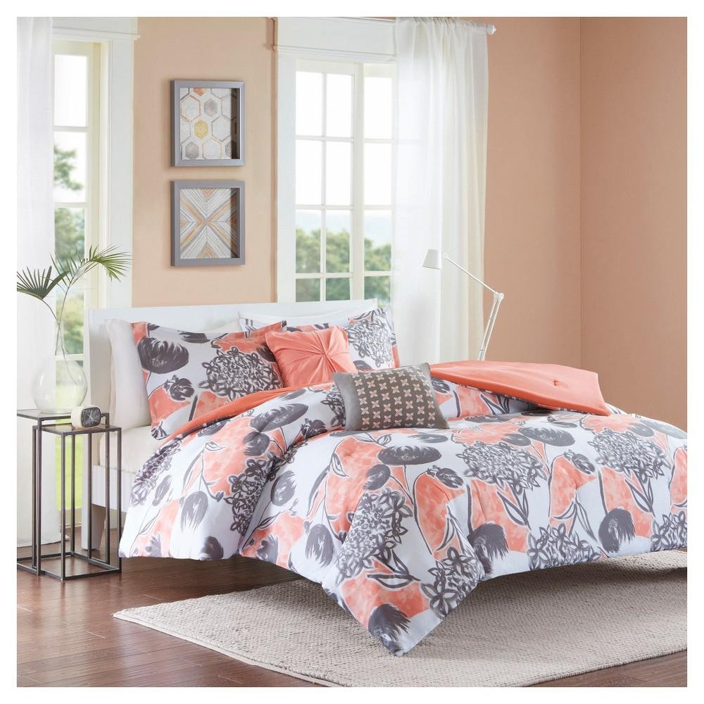 Vera Comforter Set (Full/Queen) 5pc - Coral (Pink)