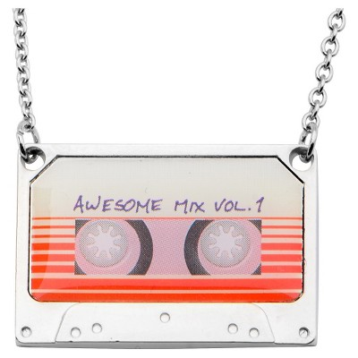"""Women's Marvel Guardians of the Galaxy Mix Tape Steel and Epoxy Pendant Necklace (16"""" + 2"""" ext.)"""