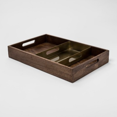 Decorative Tray - Wood/Gold - Project 62™