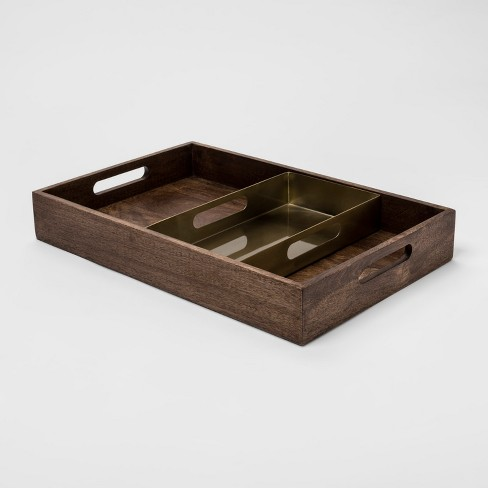 2pc Decorative Metal and Wood Nested Tray Set Brown/Gold - Project 62™ - image 1 of 2