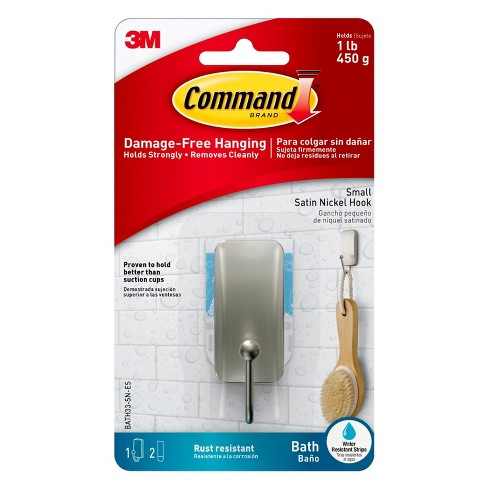 Command Small Bath Wall Hook Metal Brushed Nickel - image 1 of 5