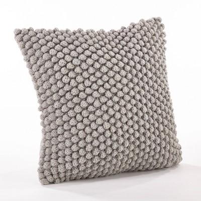 Down Filled Crochet Pompom Pillow Gray - Saro Lifestyle