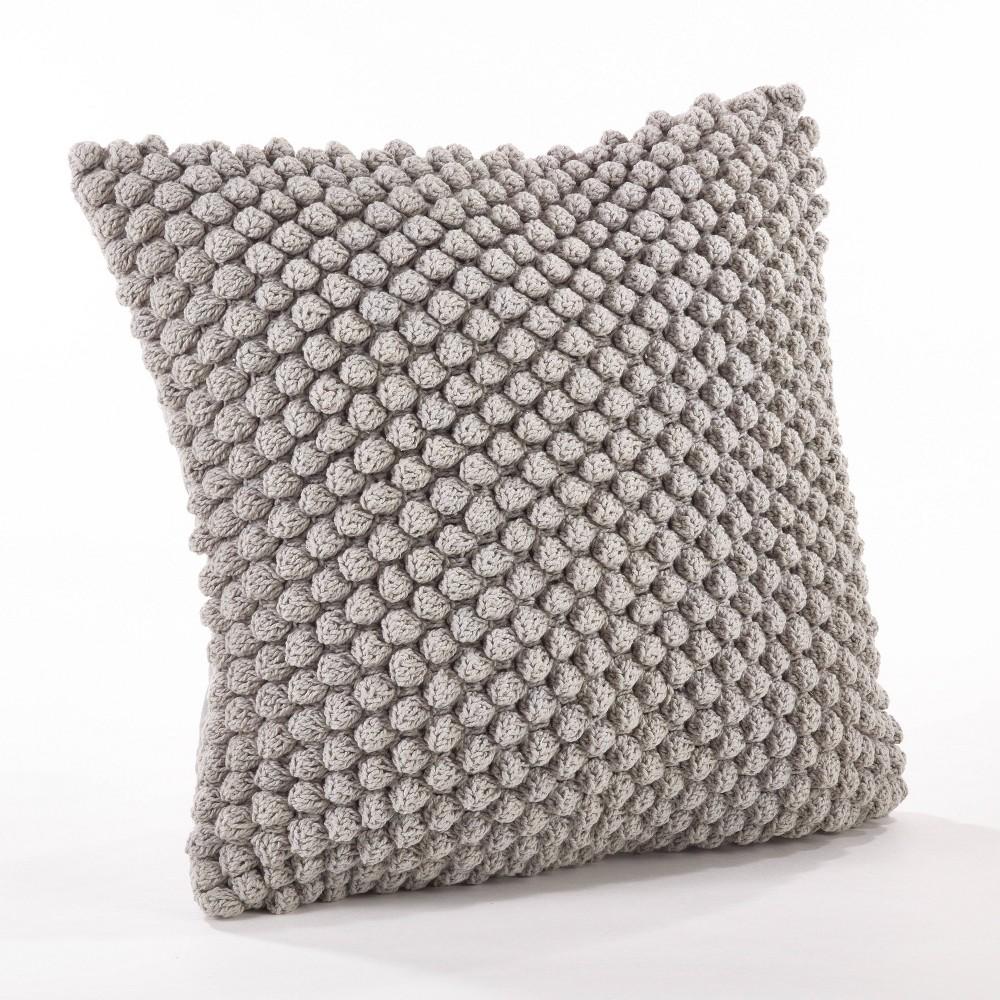 Down Filled Crochet Pompom Pillow Gray Saro Lifestyle