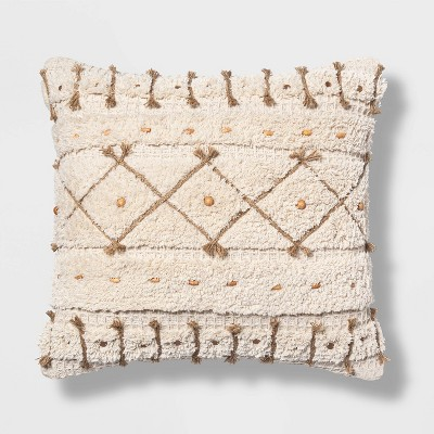 Square Textured Pillow with Jute Cording and Wooden Beads Neutral - Opalhouse™