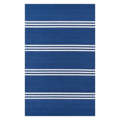 2'X3' Stripe Hooked Accent Rug Blue - Momeni
