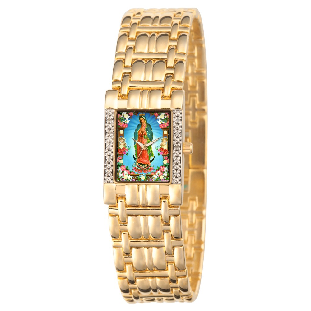 Image of Women's eWatchfactory Our Lady of Guadalupe Square Diamond Bracelet Watch - Gold, Size: Small