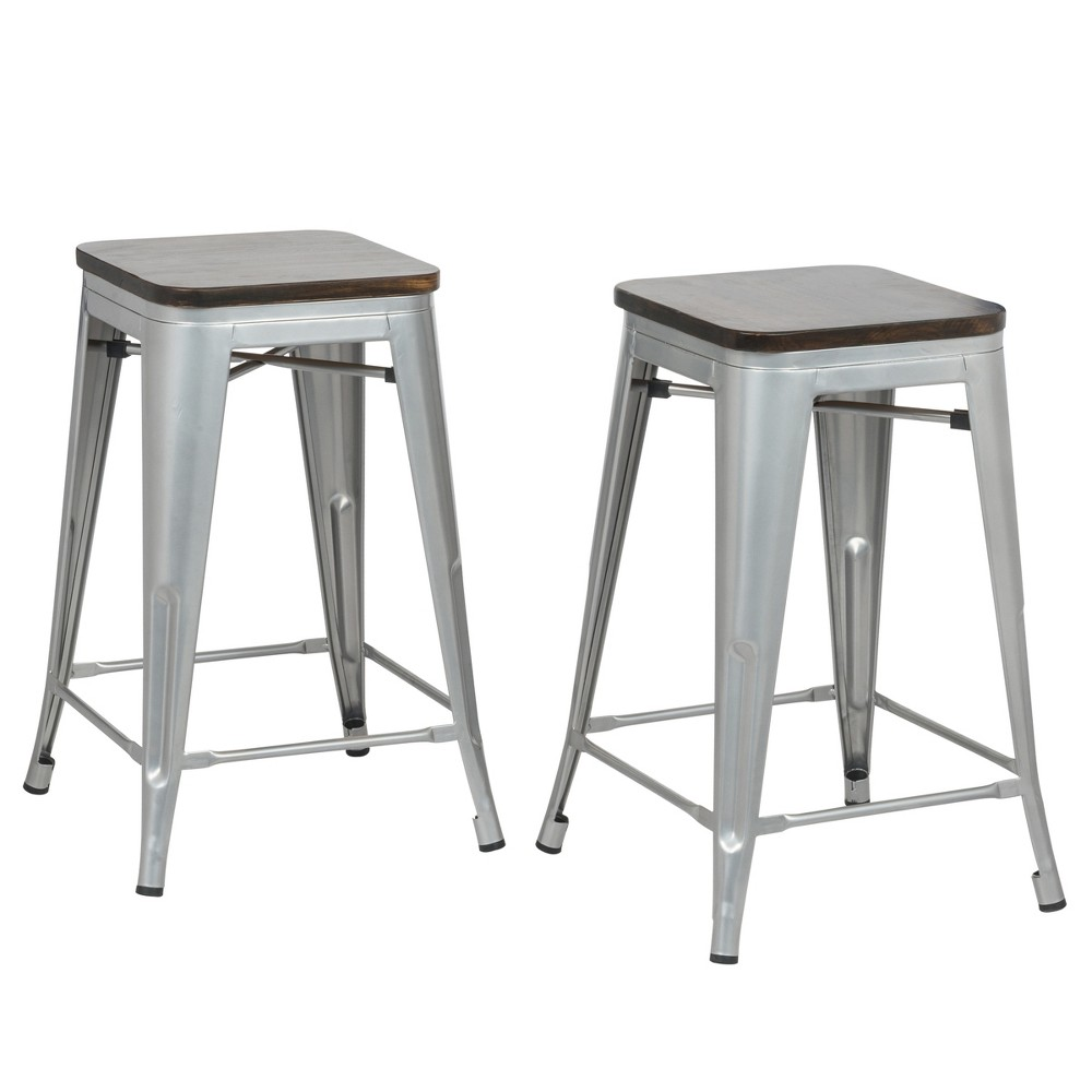 "Image of ""24"""" Emil Square Counter Stool Set of 2 Silver - Carolina Chair and Table"""