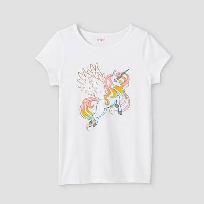 Girls' Adaptive Unicorn Short Sleeve Graphic T-Shirt - Cat & Jack™ White