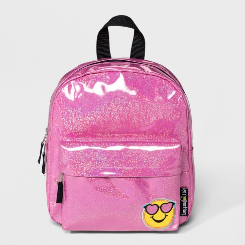 Girls' EmojiNation Patched Up Glitter Mini Backpack - Pink - image 1 of 3