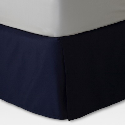 Navy Xavier Wrinkle-Resistant Cotton Bed Skirt (King)- Threshold™