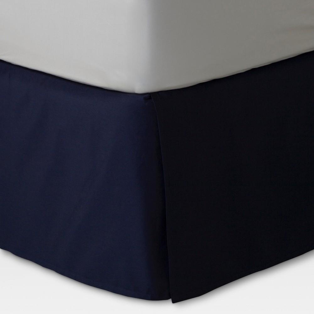Navy (Blue) Xavier Wrinkle-Resistant Cotton Bed Skirt (King) - Threshold