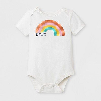 Baby Girls' Short Sleeve Pequeno Rainbow Bodysuit - Cat & Jack™ White 0-3M