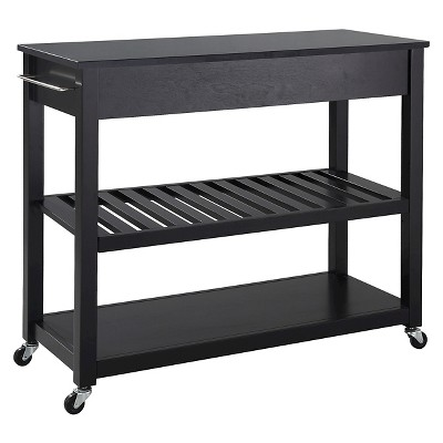 Solid Black Granite Top Kitchen Cart/Island With Optional Stool Storage    Crosley : Target