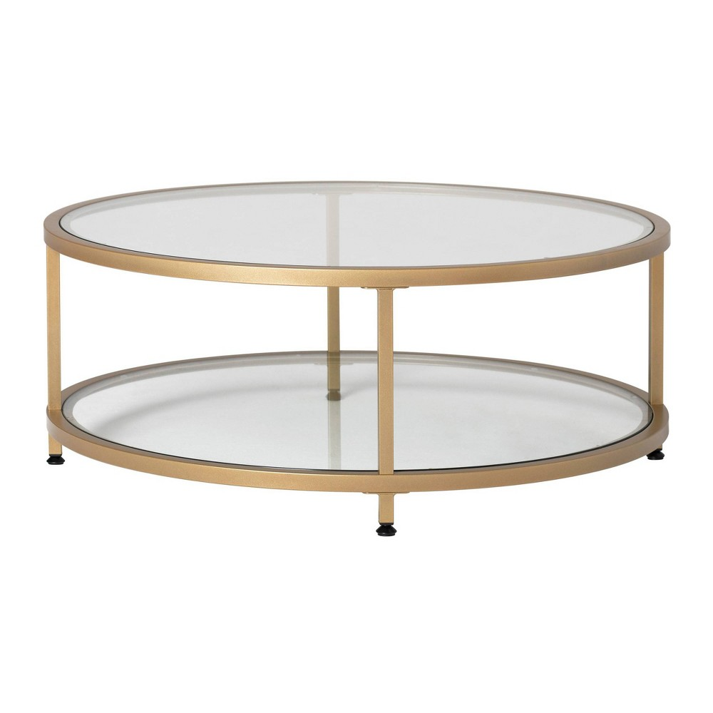 "Image of ""38"""" Camber Modern Glass Round Coffee Table Gold - Studio Designs Home"""